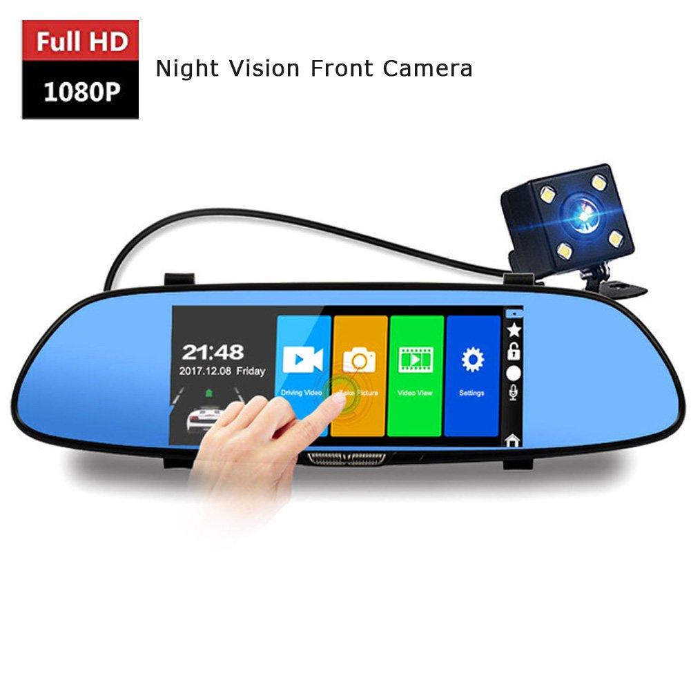 7 Inch AUTO Rear View Mirror Camera 1080 Fhd Front Camera And 720P Recorder Dash Cam G-Sensor Loop Recording