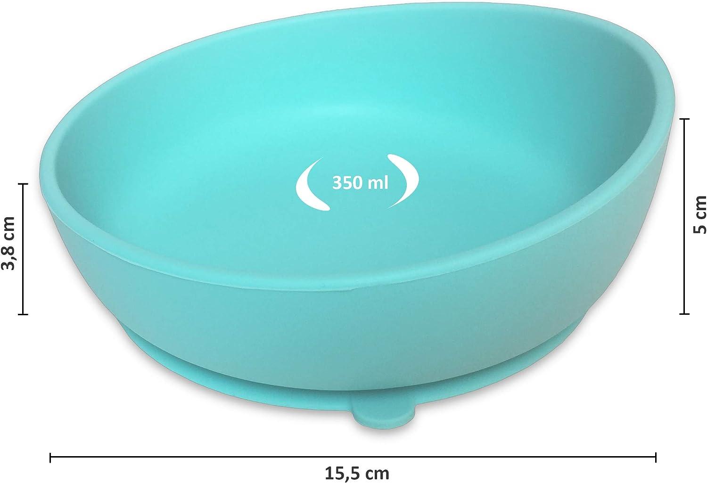 Bol de Silicona con Ventosa para Bebe Rosa Twinkle Magic Bowl Plato Infantil Antideslizante con Succion para BLW y Aprendizaje Bebes