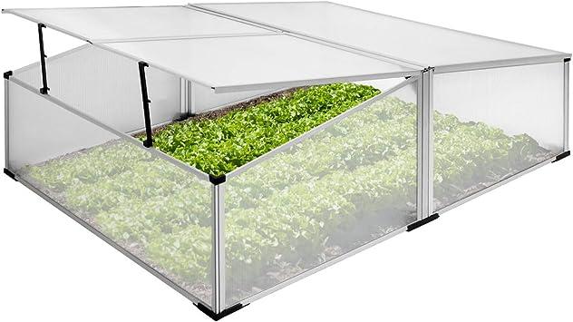 ECD Germany Invernadero para jardín - Aluminio inoxidable - Marco frío plateado policarbonato - 100x120x40cm - Mini vivero para hortalizas - Resistente a los rayos UV - Invernadero doble de semillero: Amazon.es: Bricolaje y herramientas