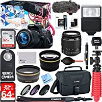 Canon EOS Rebel T5i Digital SLR Camera Video Creator Kit 18-55mm Zoom Lens, Rode Video Mic, 32GB + 64GB SDXC Memory Bundle + Pro Wide Angle Lens + 2x Telephoto Lens Converter +Extra Battery+DSLR Bag Noticeable Review Image