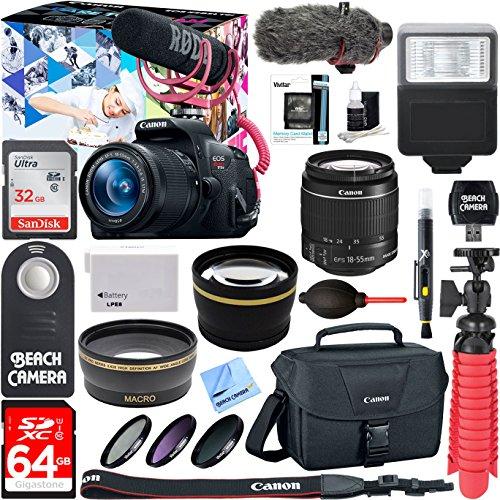 Canon Pro Video Cameras (Canon EOS Rebel T5i Digital SLR Camera Video Creator Kit 18-55mm Zoom Lens, Rode Video Mic, 32GB + 64GB SDXC Memory Bundle + Pro Wide Angle Lens + 2x Telephoto)