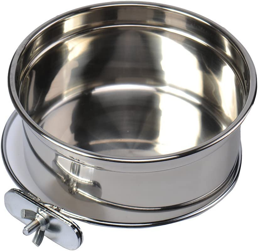 Stainless Steel Food Water Bowl For Pet Bird Crates Cages Coop Dog Cat Parrot Bird Rabbit Pet