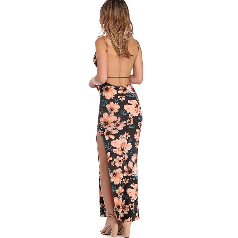 Damen kleider sommer, Mode Frauen Floral gedruckt Camis Backless ...