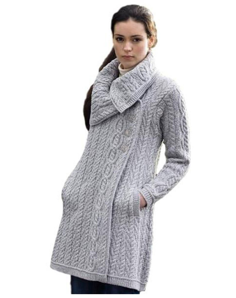 Irish Aran Knitwear New 100% Irish Merino Wool Women's Chunky Collar Coat With Buttons X4416, Soft Gray (Extra Large)