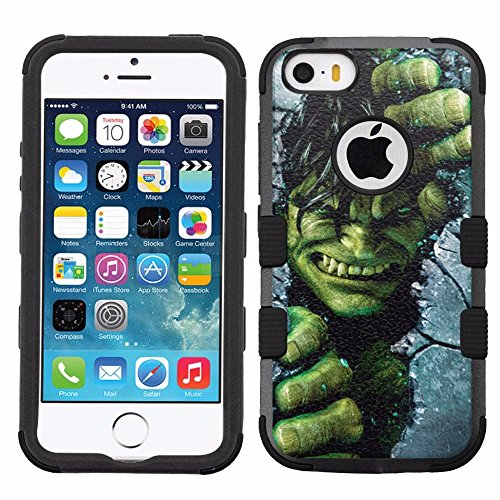for iPhone SE/5/5s, Hard+Rubber Dual Layer Hybrid Heavy-Duty Rugged Armor Cover Case - The Incredible Hulk #C