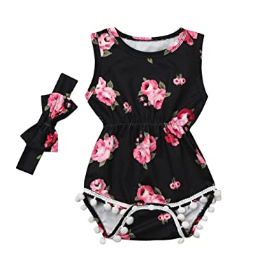 daaf29bd348 Amazon.com  Hatoys 2PC Infant Baby Girls Boy Sleeveless Feather ...