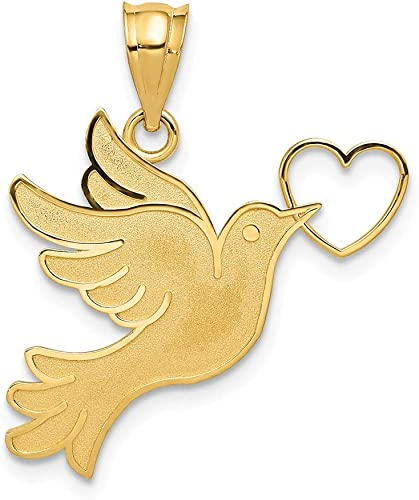 14K Yellow Gold Polished Love Birds In Heart Small Charm Pendant