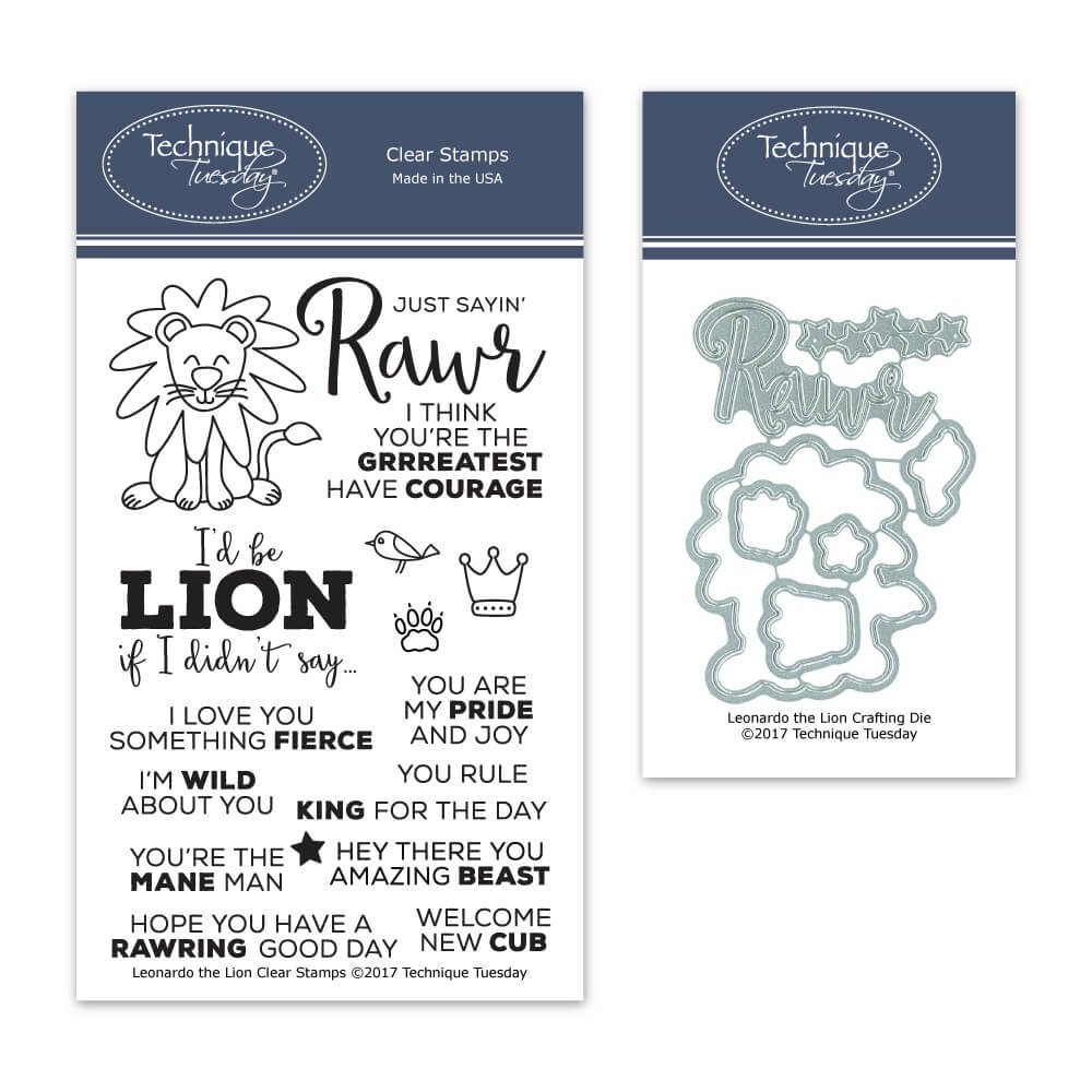 Leonardo The Lion Clear Stamps with Matching Metal Dies | Clear Rubber Stamps | Photopolymer Stamps | Die Cuts | Craft Dies | Card Making Supplies
