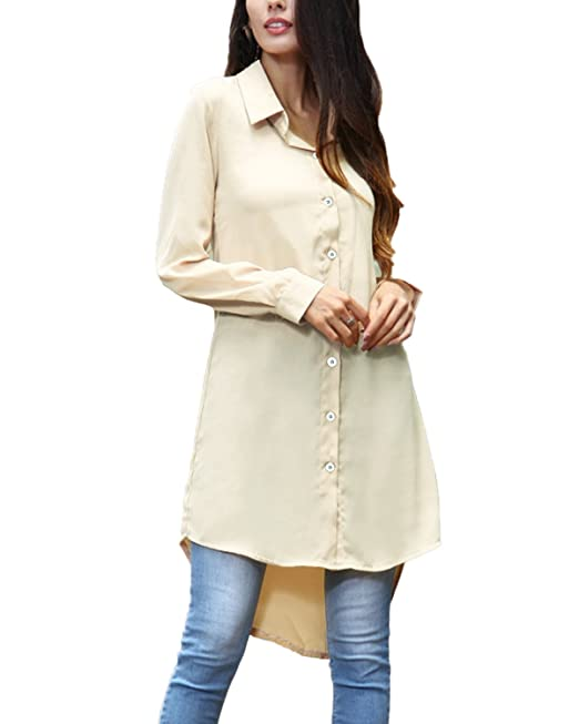 Auxo Mujer Camisa con Mangas Largas Cuello En V Botones Irregular Casual De Color Sólido Beige