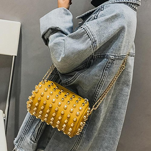 Girl Cylinder Messenger Kids Women Handbag Wallet Chain Everpert Rivets Shoulder Yellow Bag xzXqIUw