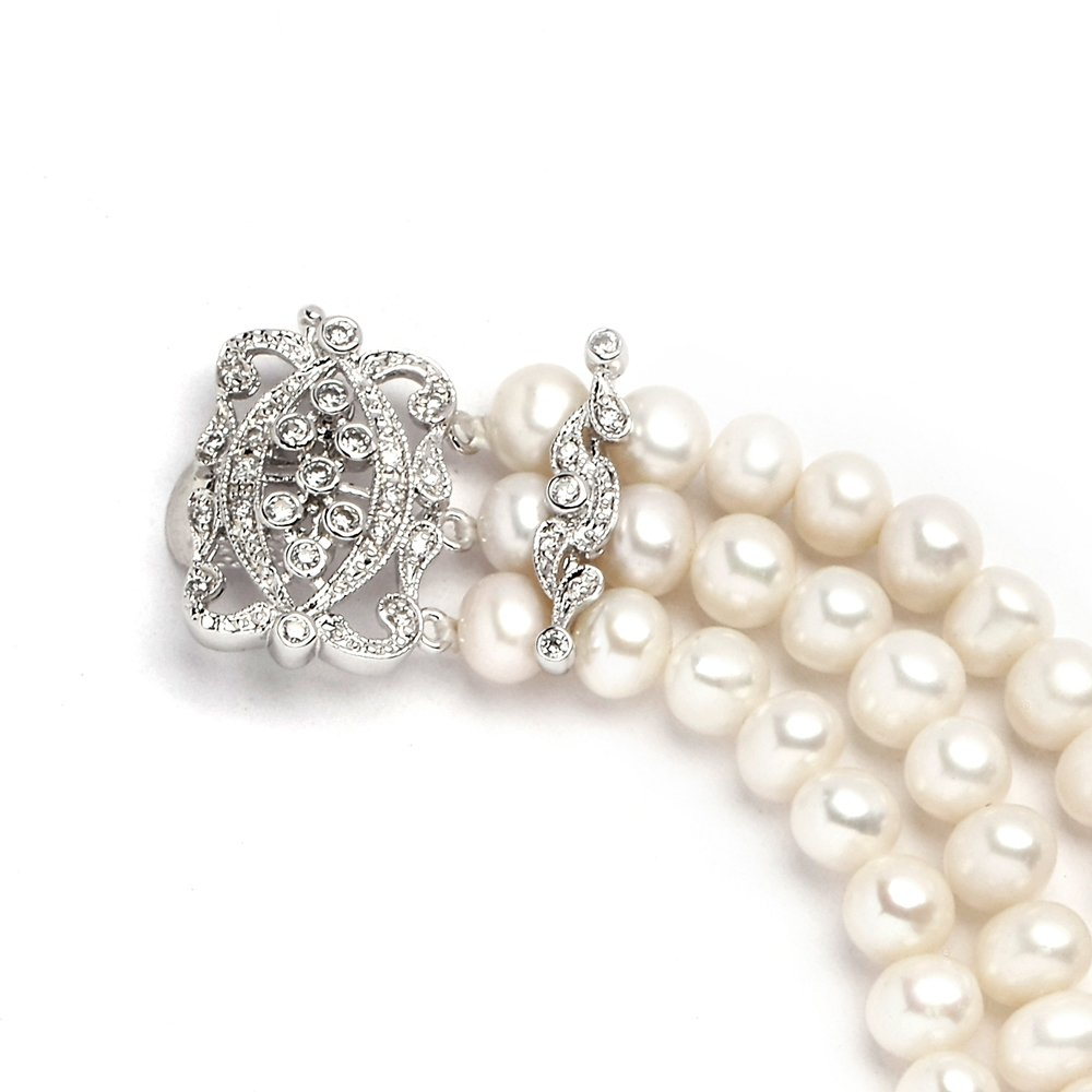 Mariell Genuine Freshwater Pearl 3-Strand Bridal Bracelet - Luxe 3-Row Pearl Bracelet with CZ Clasp by Mariell (Image #5)