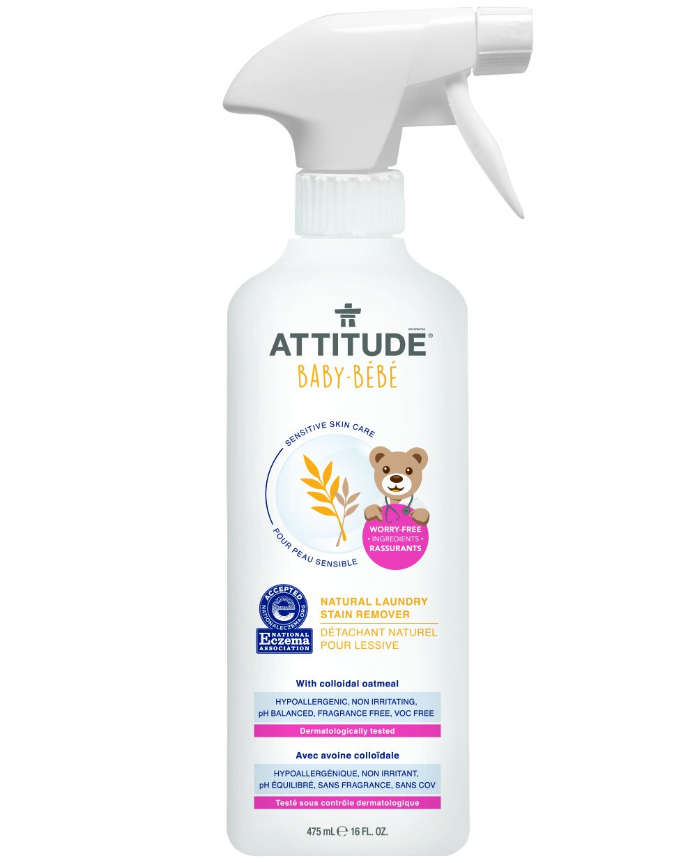 Attitude Natural Laundry Stain Remover Baby, Fragrance Free, 16 Fluid Ounce
