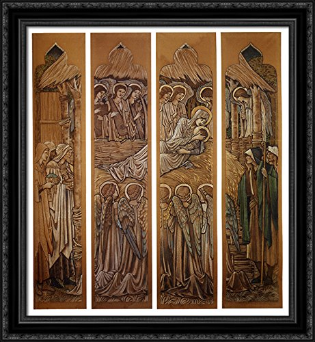The Nativity, Cartoons for Stained Glass at St. David's Church, Hawarden 28x32 Large Black Ornate Wood Framed Canvas Art by Edward Burne Jones
