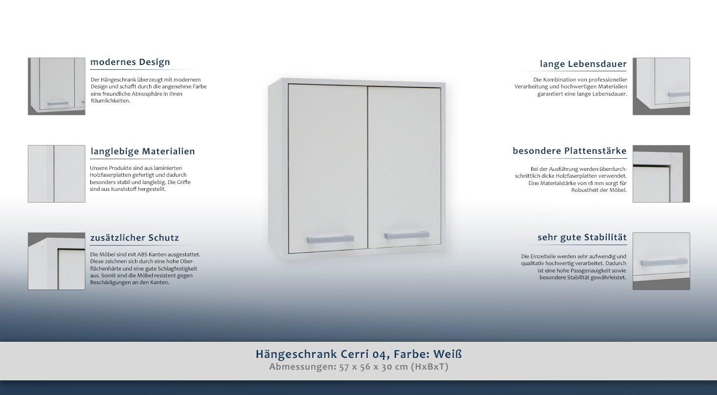 Hängeschrank Cerri 04, Farbe: Weiß - 57 x 56 x 30 cm (H x B x T ...
