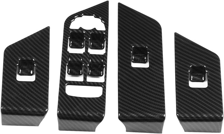 Hlyjoon Window Lift Trim Frame 4 Pcs Car Vehicle Window Lift Trim Cover Carbon Fiber Style Left Hand Drive Window Panel Switch Button Frame for Land Rover Range Rover Evoque 2012-2017