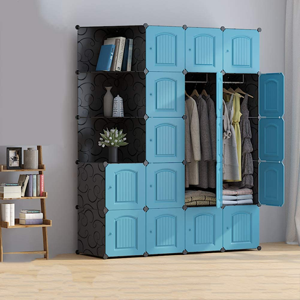 Portable Wardrobe Organizer, Resin Armoire with Hanging Rod Modular Cube Closet Shelves for Clothes Shoes Toys-Blue 147x47x183cm(58x19x72inch)