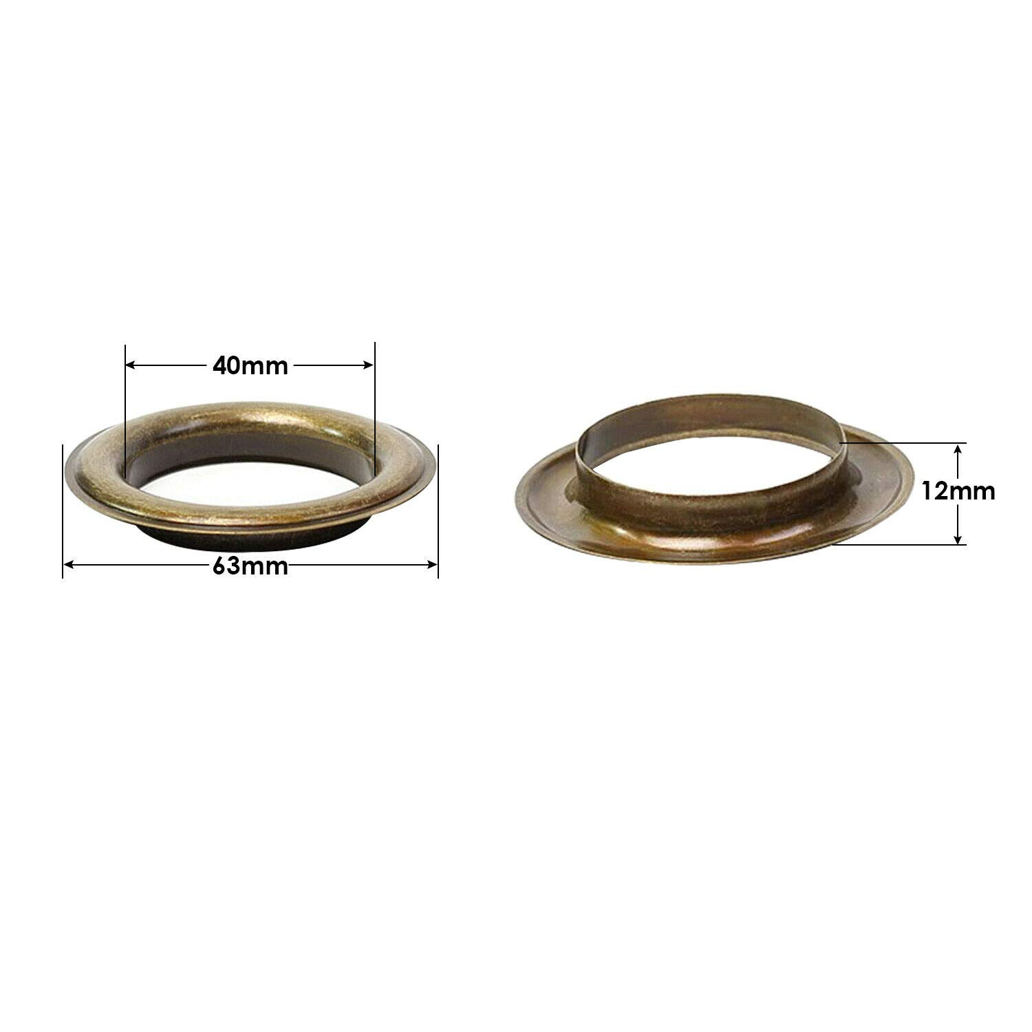 Trimming Shop 40mm Rose Gold Extra Large Eyelets Rings with Washers Pack of 10 Washers for Vinyl Banners /& Canvas Holding Grommets for Clothing and Leathercraft