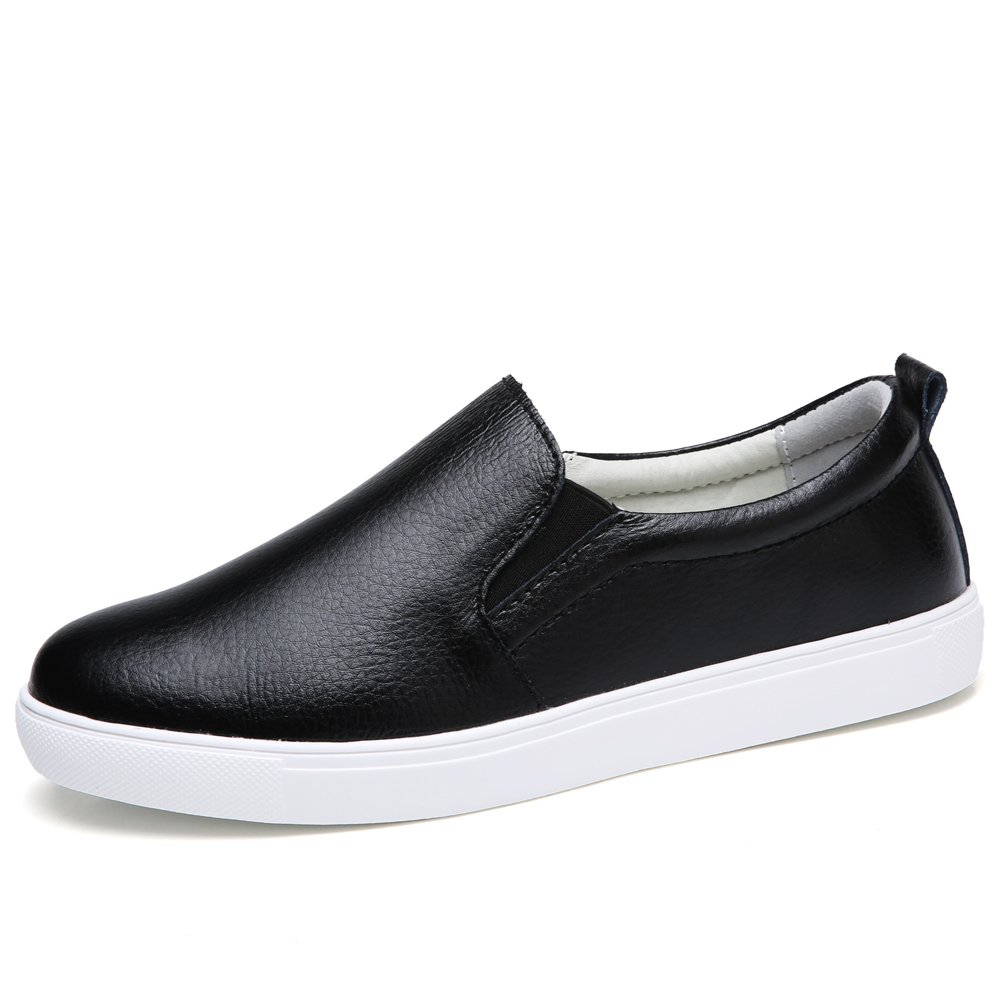 STQ-505heise37 Spring Summer Women Loafers Slip On Sneakers Comfort Leather Work Walking Driving Flats Shoes Black 6.5 B(M) US