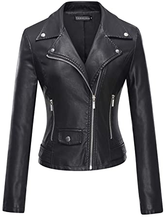 548e2f379a0032 Tanming Women's Casual Slim Motorcycle PU Faux Leather Jacket Coat  (X-Small, Black