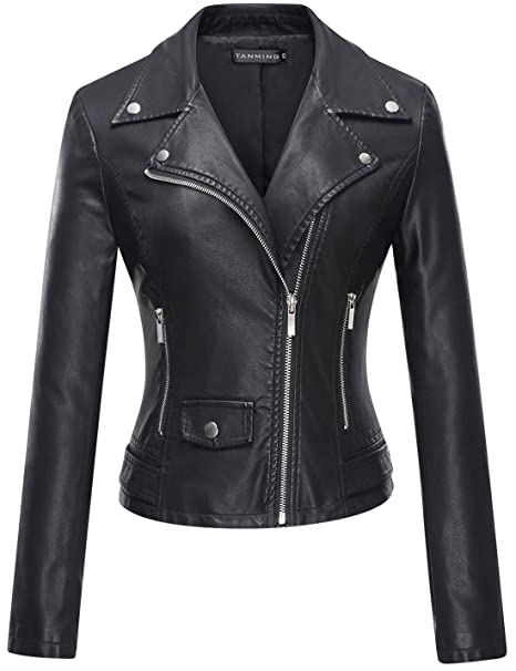 Review Tanming Women's Faux Leather Moto Biker Short Coat Jacket