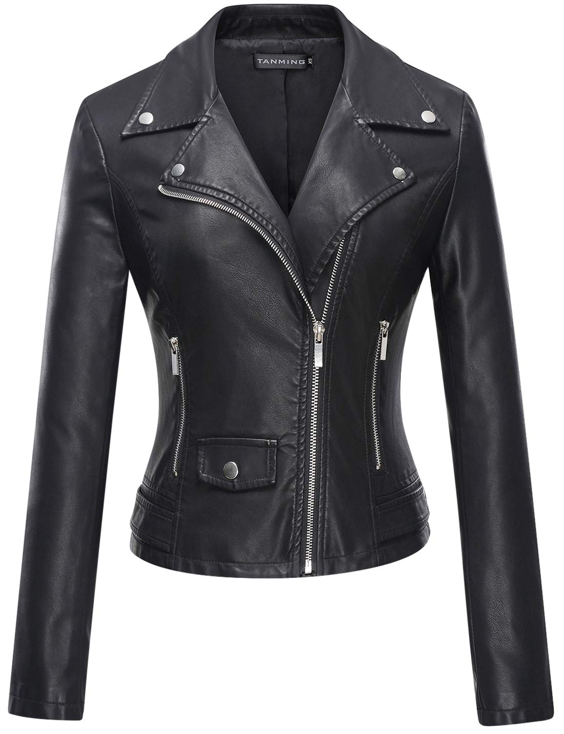 Tanming Women's Casual Slim Motorcycle PU Faux Leather Jacket Coat (Large, Black)