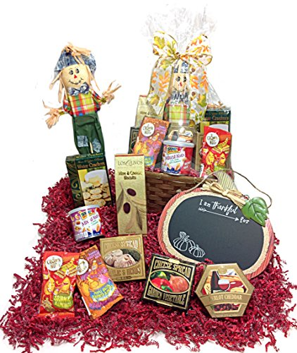 Savory Autumn Thanksgiving Gift Basket - Assorted Cheese Spreads, Nuts & Seasonal Decor