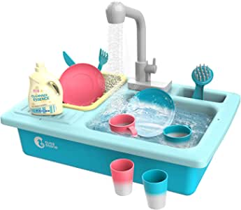 CUTE STONE Play Kitchen Sink Toys, Kids Electric Dishwasher Playing Sink with Running Water,Upgraded Real Faucet and Color Changing Play Dishes, Pretend Play Kitchen Toys for Boys Girls Toddlers