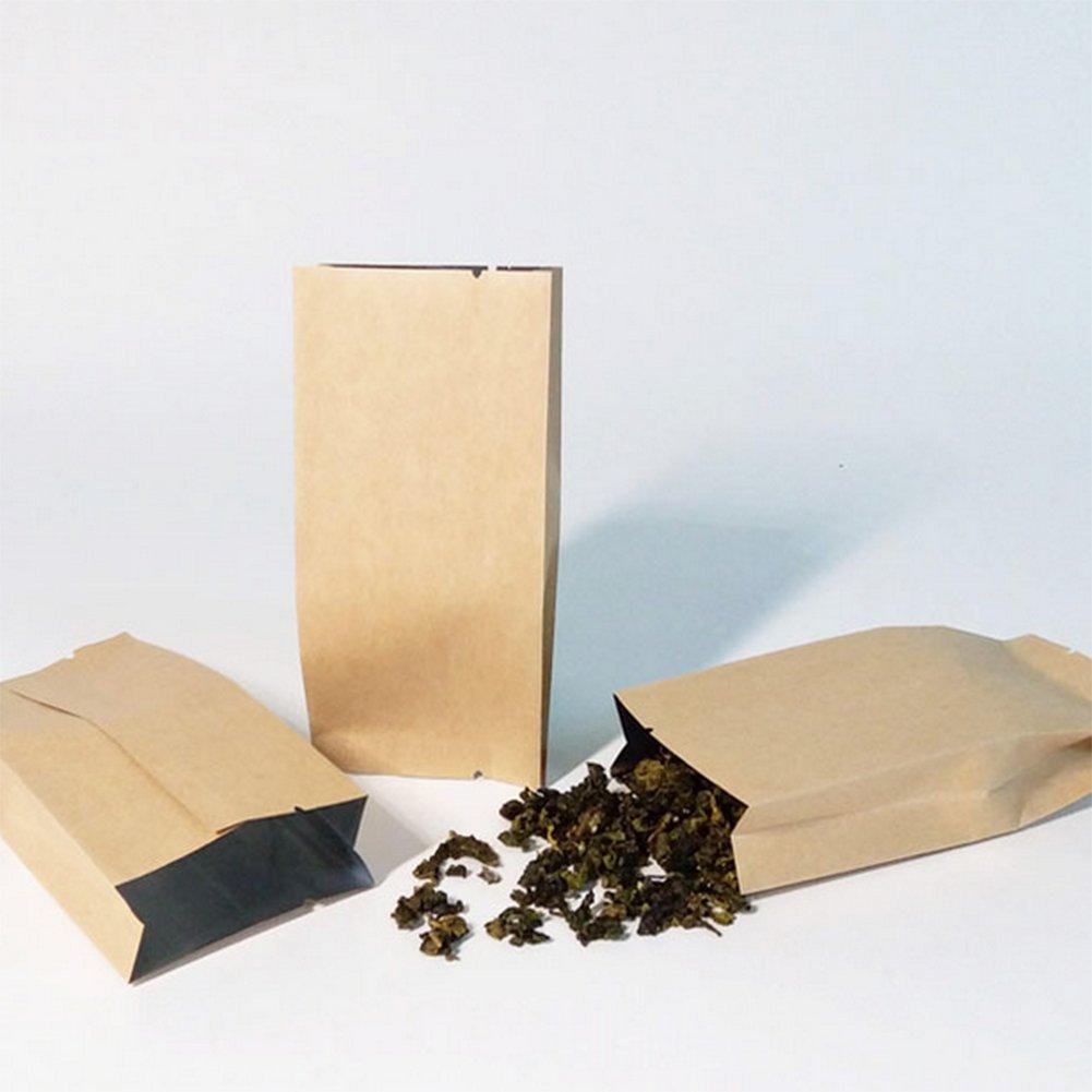 Chytaii 50pcs Bolsa de Embalaje Bolsa de Papel Kraft con Base para Alimento T/é Bolsas de comida Bolsa Ecol/ógica Tres Tama/ños Marr/ón