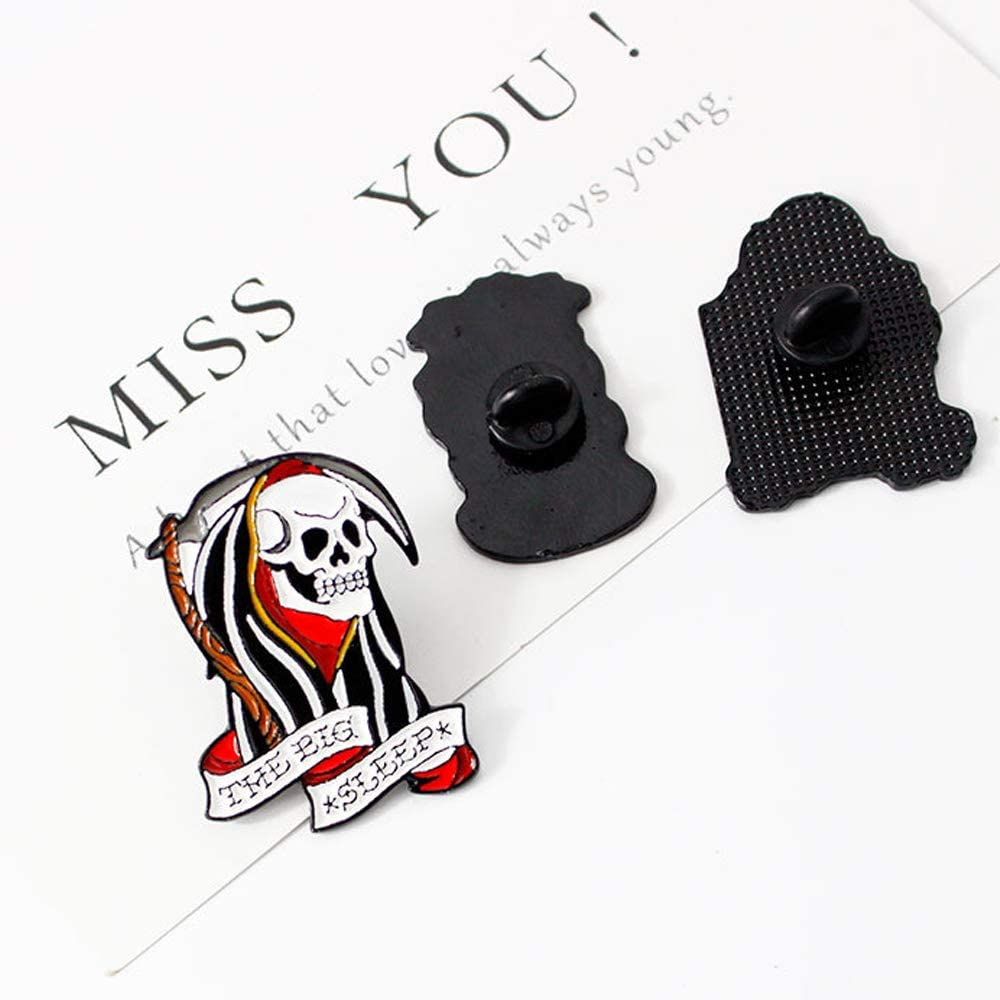 SaiDian 3 Pcs Cartoon Purple and Grey Tombstone Skull Combination Drip Brooch Pins Badges Personality Fashion Accessories Decoration for Clothes Bag