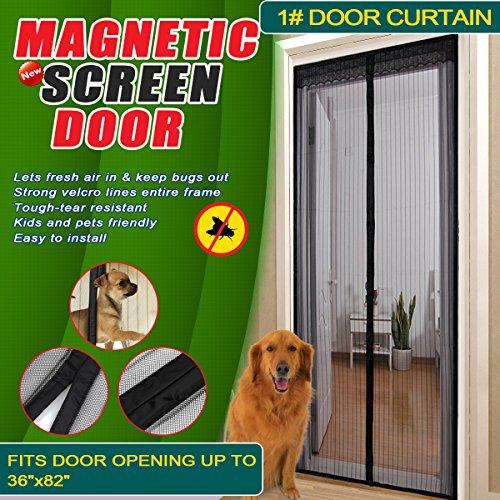 Magic Mesh Hands-Free Screen Door Curtain,Full Frame Velc...