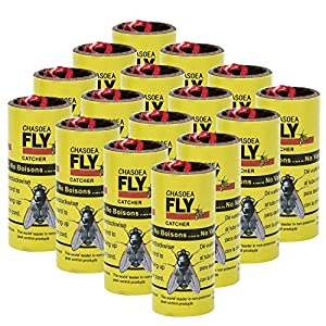 CHASOEA Fly Paper Insect sticky Trap, Fly Paper Strips,Fly Trap, Fly Catcher Trap, Fly Ribbon, Fly Bait,16 Packs