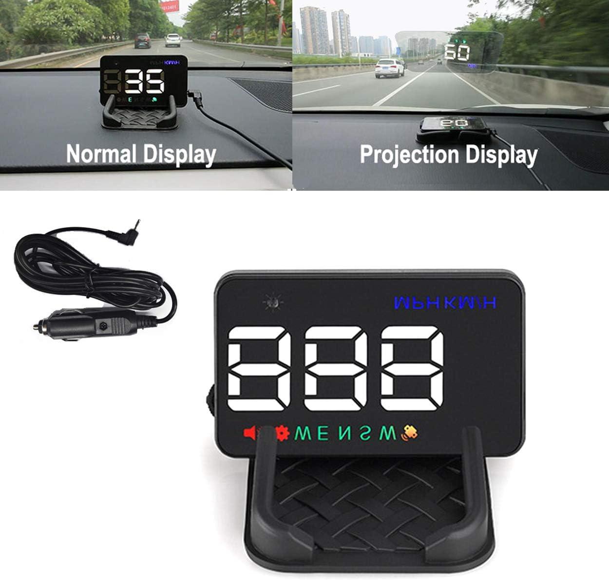 YUGUIYUN HUD Head Up Display para Coche A5, GPS Digital Velocímetro KMH/mph con Función de Alarma Aviso de Velocidad Coche Parabrisas Proyector