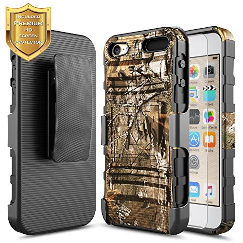 NageBee for iPod Touch 7 Case, iPod 6/5 Case w/ [HD Screen Protector] Belt Clip Holster Heavy Duty Armor Shockproof Kickstand Combo Rugged Case for Apple iPod Touch 5th / 6th / 7th Generation -Camo ()