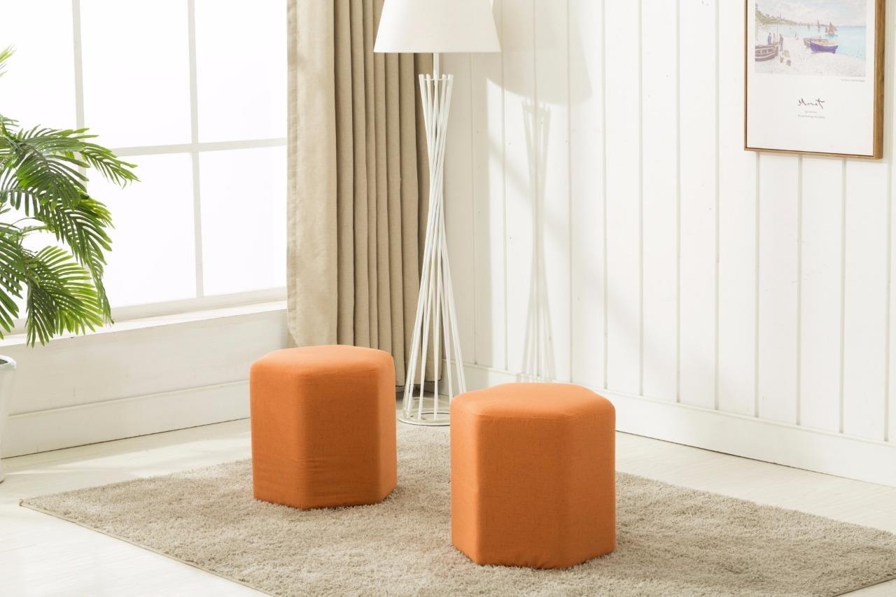 Dara OT 3001 Orange Ottoman Bench Set of 2