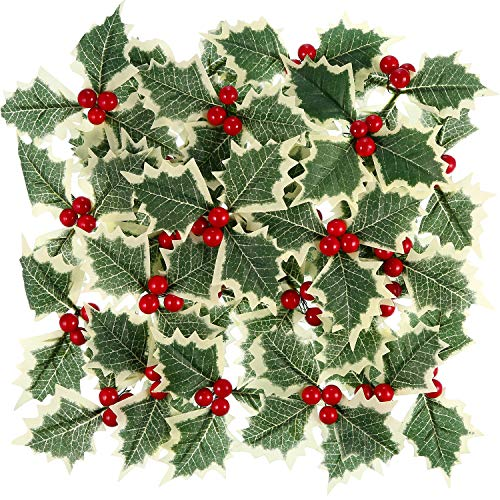 Pangda 30 Pieces Artificial Holly Berry with