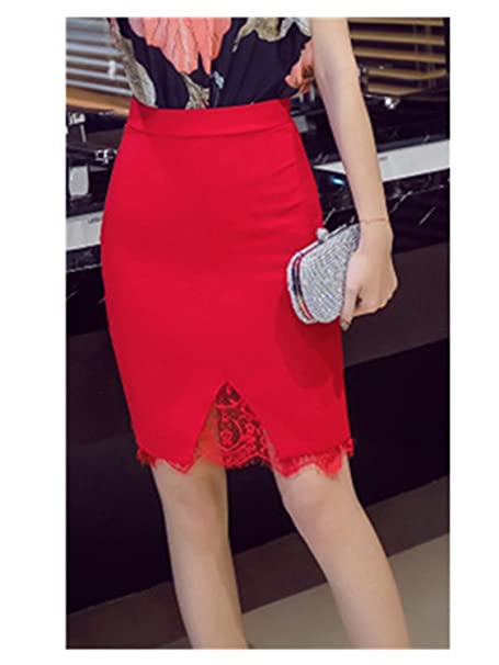 226fc3541bf George Gouge5Xl Plus Size Skirt Formal Lace Patchwork Solid Skirt Women  Skirts Fashion Elegant Stretch Pencil
