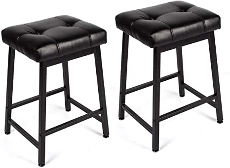 Mellcom 24 Inch Bar Stools Backless Counter Height with PU Leather  Seat,Indoor Outdoor Kitchen Bar Chairs,Set of 2