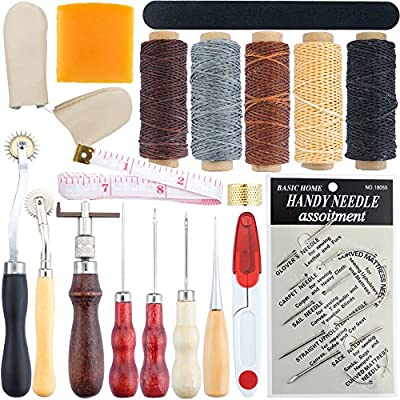 SOTOGO 19 Pcs Leather Craft Tool Hand Stitching Sewing Tool Thread Awl Waxed Thimble Kit