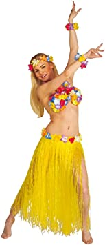 Disfraz de hawaiana de rafia de colour amarillo Hawaii rock de ...