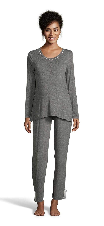 Graphite Heather Lamaze Womens Maternity Long Sleeve Shirt and Elastic Waist Pajama Pants Set