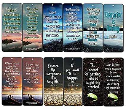 Creanoso Inspirational Bookmarks 60 Pack Inspiring Quotes About Life Bookmarker Cards Awesome Positive Wisdom Encouragement Gifts For Men Women