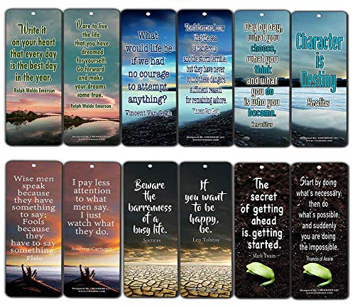 Inspirational Bookmark - Creanoso Inspirational Bookmarks (60-Pack)- Inspiring Quotes About Life Bookmarker Cards - Awesome Positive Wisdom Encouragement Gifts for Men Women Adults Teens Kids Entrepreneur