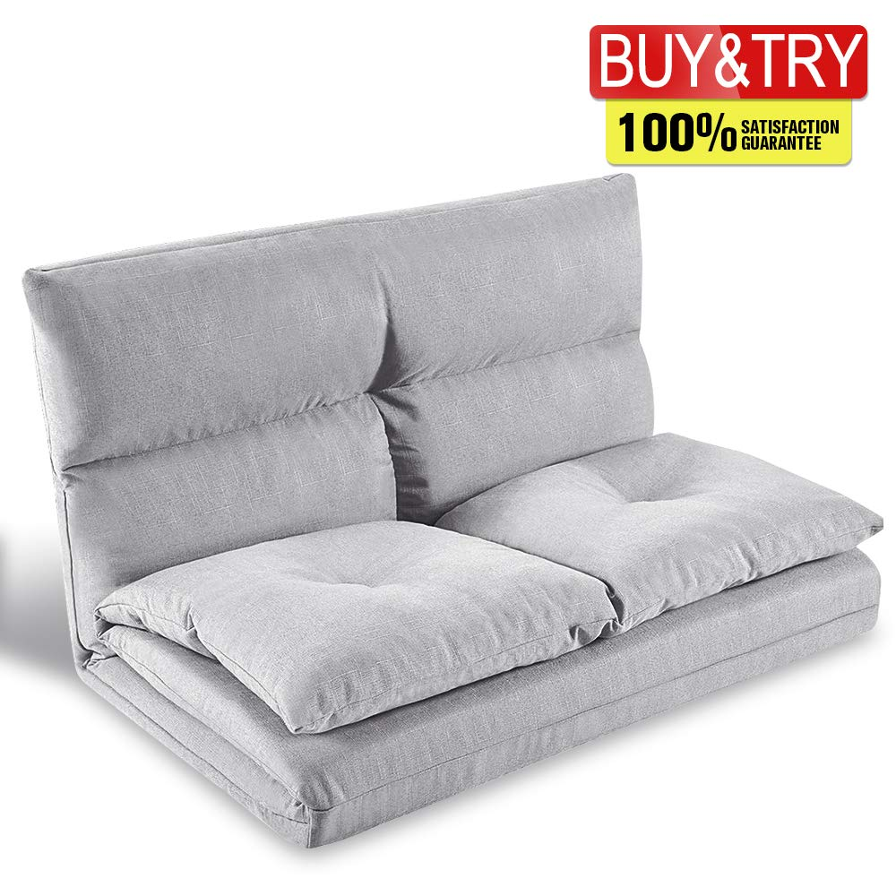 Adjustable Floor Couch and Sofa for Living Room and Bedroom, Foldable with 5 Reclining Position, Love seat, Beige, Grey by MIERES