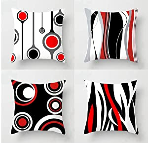 Emvency Set of 4 Throw Pillow Covers 18x18 Inches Decorative Cushion Modern Abstract Red Black White and Grey Wavy Vertical Stripes Dot Polyester Pillow Cases Square Pillocases for Bed Sofa