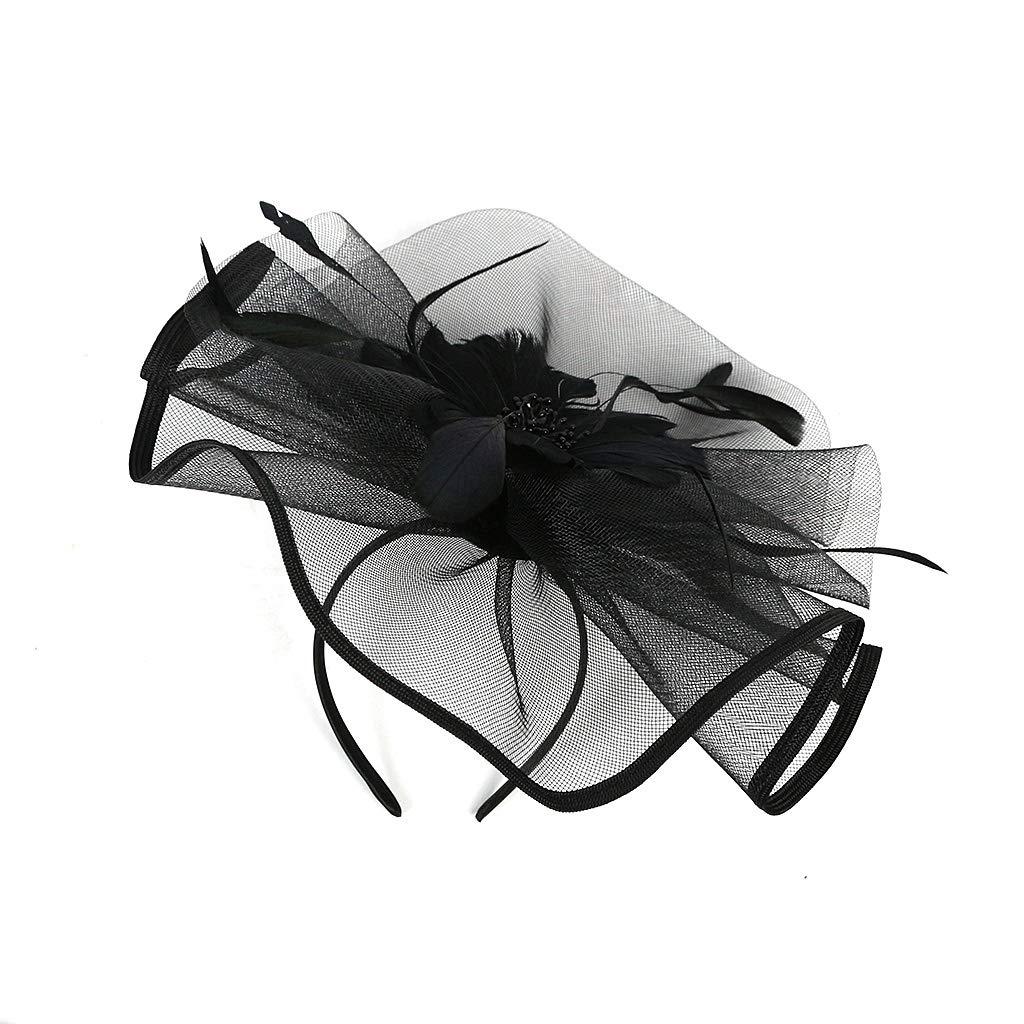 Kentucky Derby Fascinators for Women Sinamay Tea Party Hat Cocktail Headpiece Flower Mesh Feathers Headband Hat Black-AD by Merya Dress (Image #7)