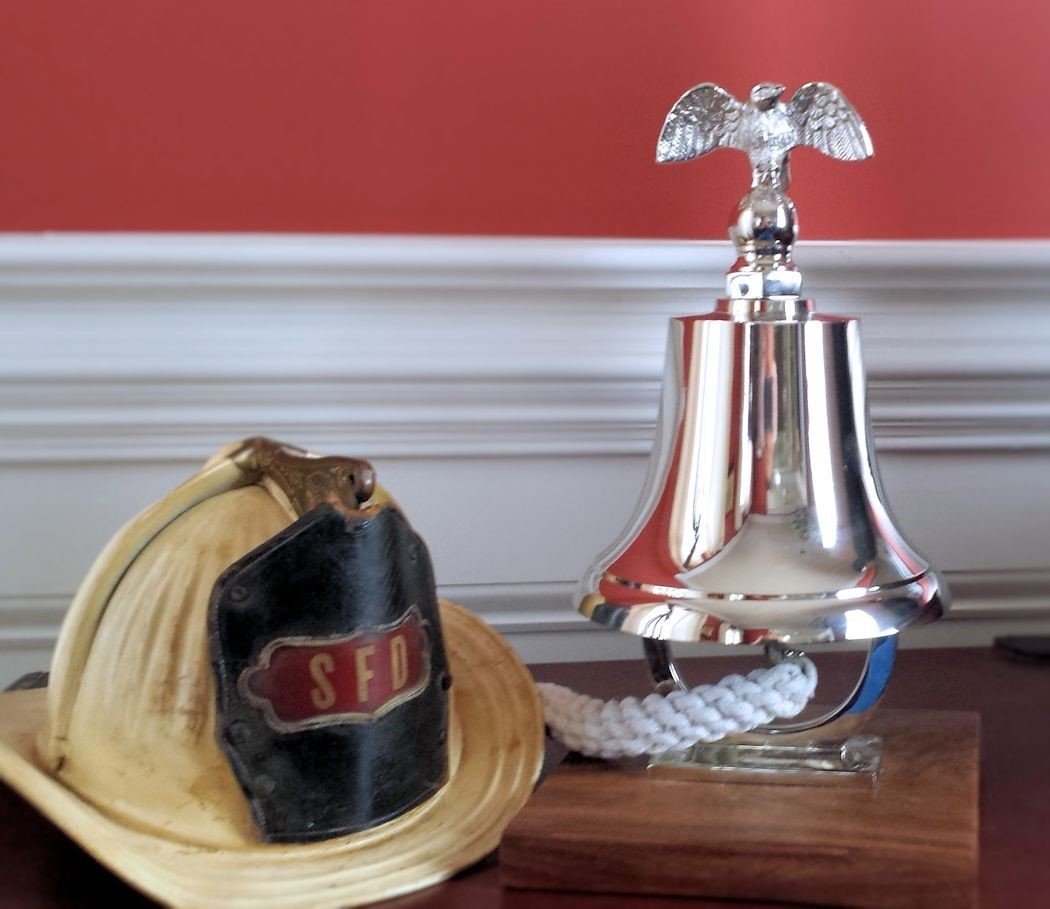 Engraved Medium Fire Truck or Memorial Bell on Base