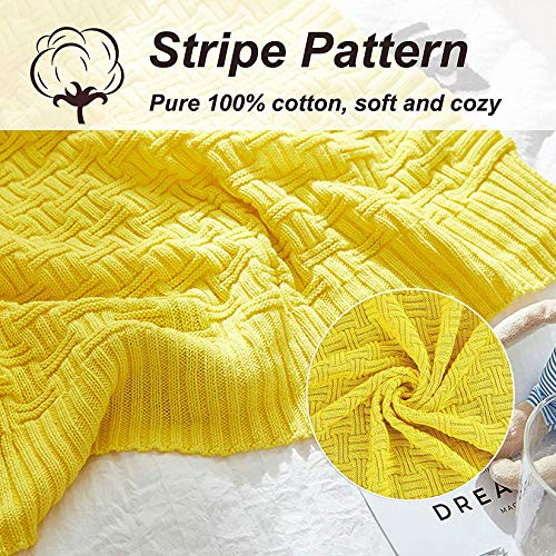 Cable Knitted Throw Blanket 100% Cotton Couch Cover Blanket Soft Lightweight Blanket Comfortable Home Decorative Yellow