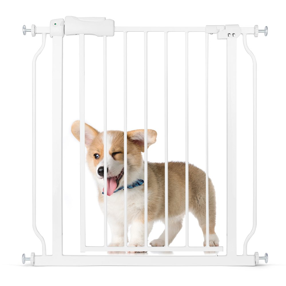 Delxo Multi-Use Metal Pet Gate Baby Gate 22'' Wide Opening Easy Walk-Through Single-Hand Access Easy Set Up No Tools Required Fit Opening 29'' to 34'' Wide for Baby/Dogs/Cats Sturdy Enough Bear 80 Pound