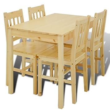 vidaXL Mesa de Comedor con 4 sillas de Madera, Color Natural: Amazon ...