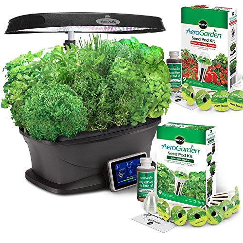 Miracle-Gro Aerogarden Bounty LED 9-pod with Gourmet Herbs and Bonus Cherry Tomato Kit by AeroGrow